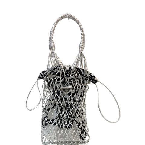PRADA Rete Fabric Mesh Tote Bag Black/White