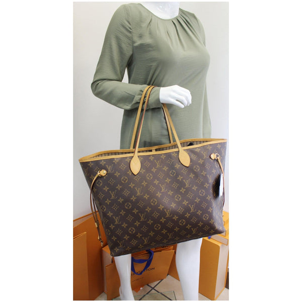 used Louis Vuitton Neverfull GM Monogram Canvas Tote Shoulder Bag Brown