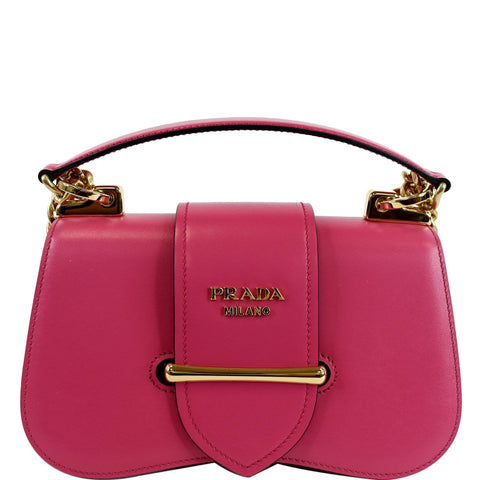 PRADA City Sidonie Small Leather Crossbody Bag Magenta