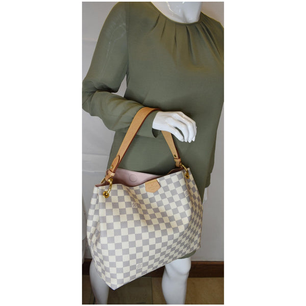 Louis Vuitton Graceful PM Damier Azur Shoulder Bag - elbow handbag]