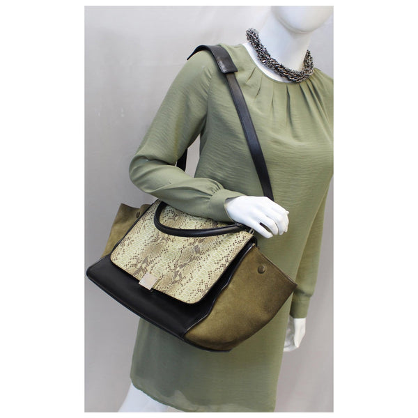 Woman holding Celine python small trapeze bag