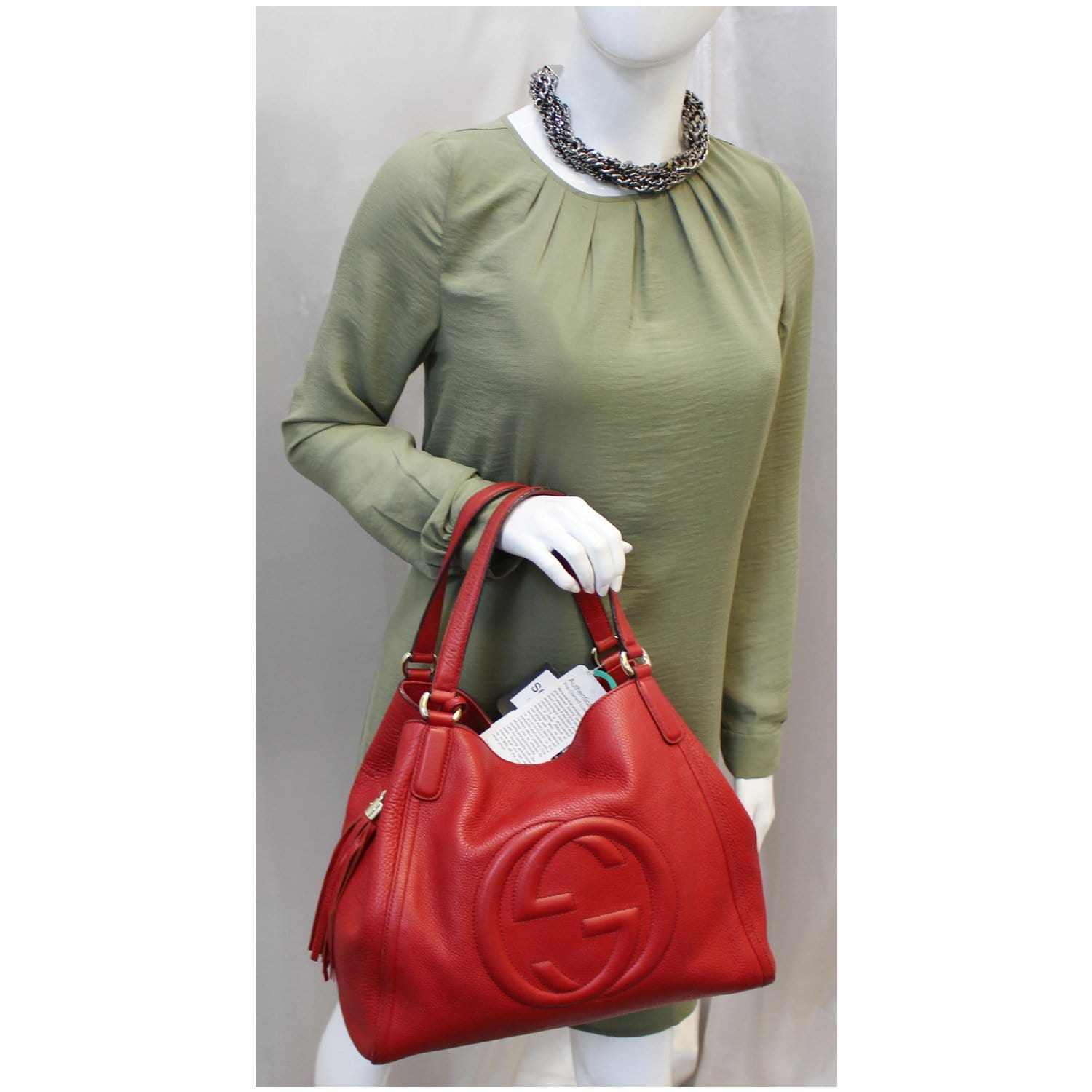 08e59d4038 GUCCI Soho Top Handle Pebbled Leather Tote Bag Red-US