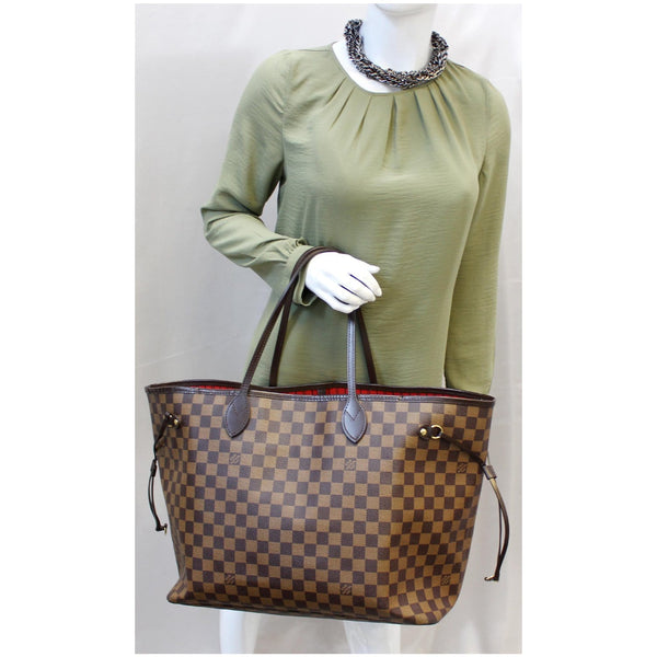 Louis Vuitton Neverfull GM Damier Ebene Tote Shoulder Bag - lv strap