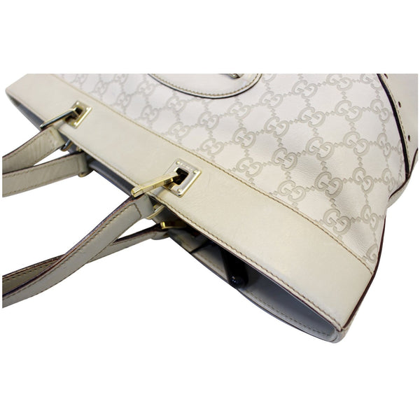 GUCCI 145993 Cream Guccissima Leather Gold-tone Tote Shoulder Bag 145993-US