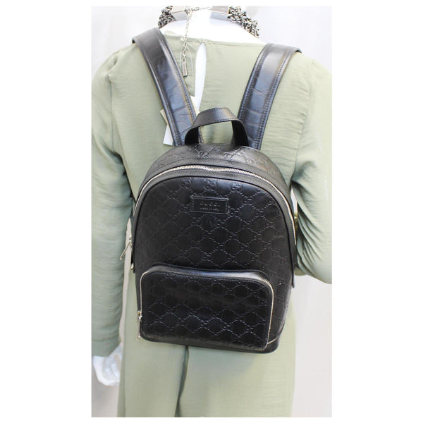 GUCCI Signature Leather Backpack Bag Black-US