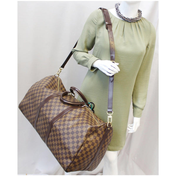 Louis Vuitton Keepall - Lv Damier Ebene Travel Bag - long strap