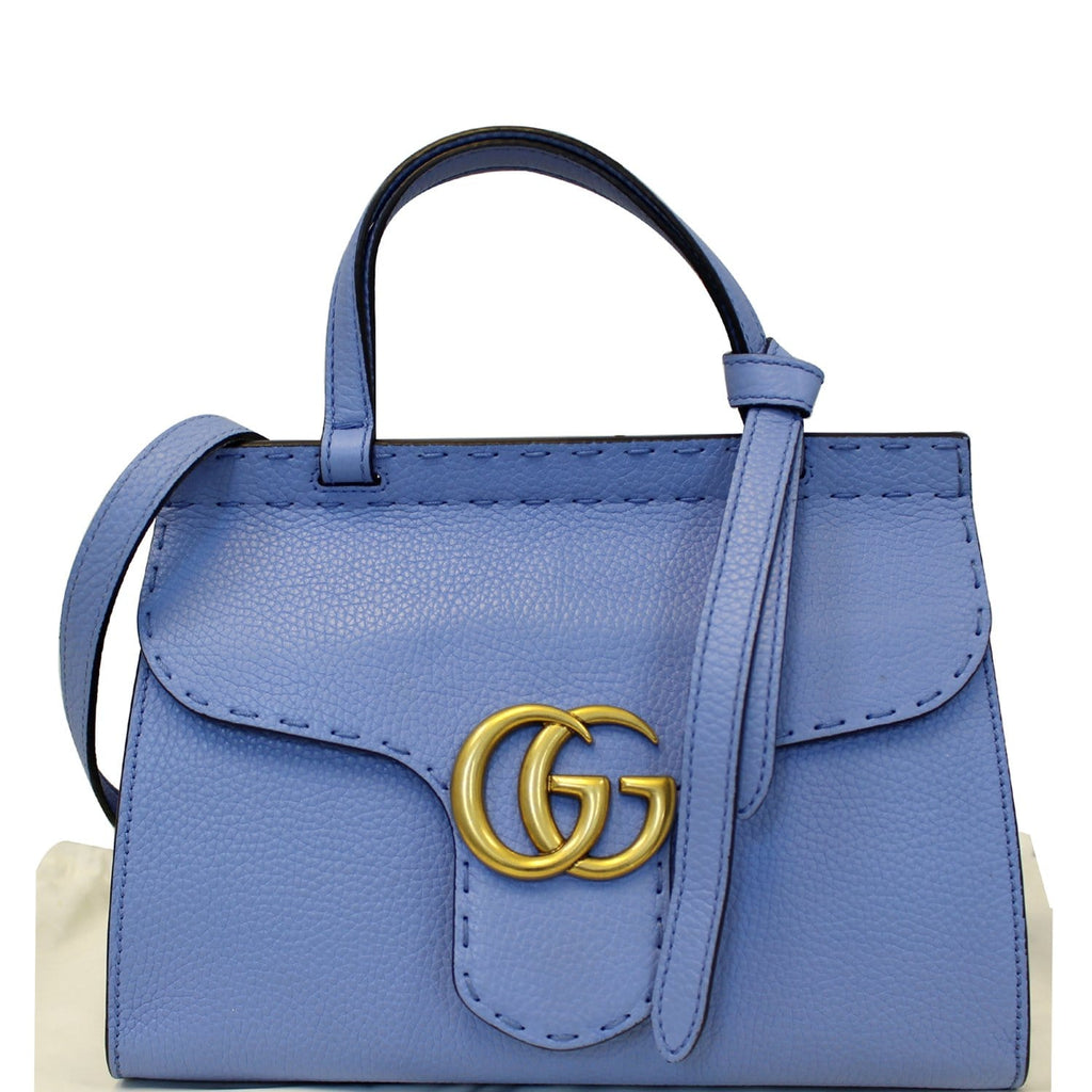 GUCCI GG Marmont Leather Top Handle Shoulder Bag Blue 442622-US