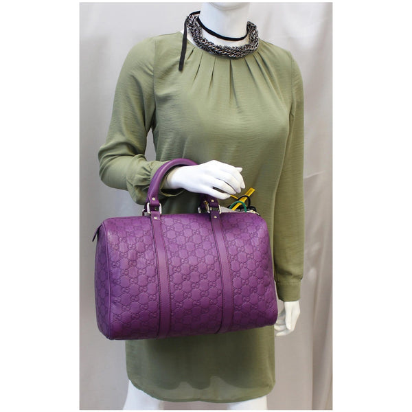 GUCCI Medium Joy Guccissima Leather Boston Bag Purple 265697