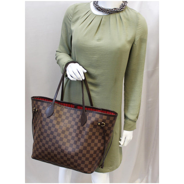 LOUIS VUITTON Neverfull MM Damier Ebene Tote Shoulder Bag Brown-US