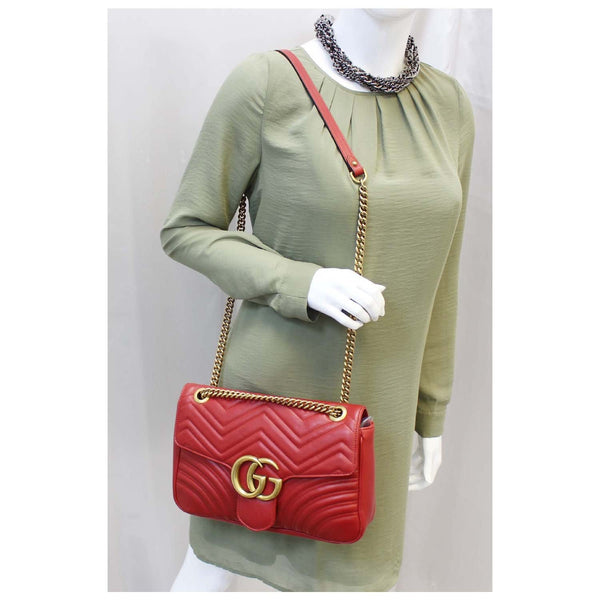 GUCCI GG Marmont Matelasse Red Leather Shoulder Bag-US