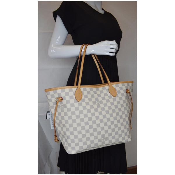 Louis Vuitton Neverfull MM Damier Azur Shoulder Bag  on hand