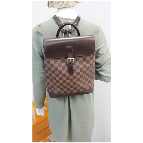 Louis Vuitton Soho Damier Ebene Backpack Bag Brown full view