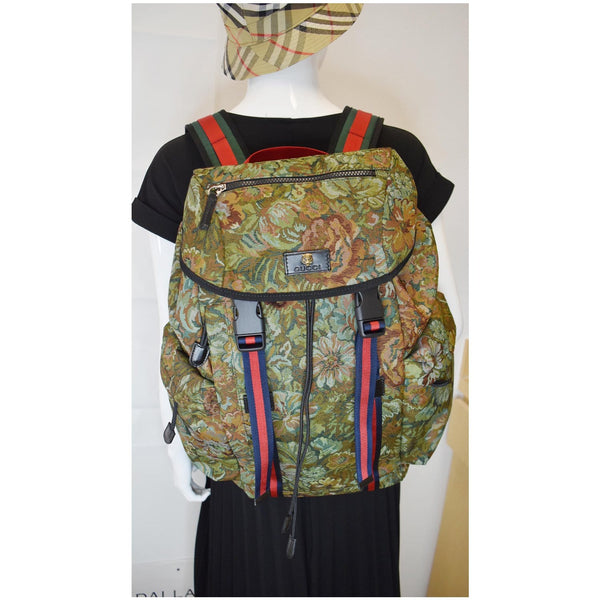 Gucci Floral Brocade Leather Backpack Bag for women