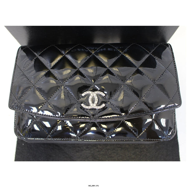 CHANEL Wallet On Chain Patent Leather Shoulder Crossbody Bag