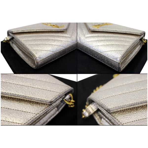 YVES SAINT LAURENT Chevron Leather Chain Wallet Shoulder Bag Silver