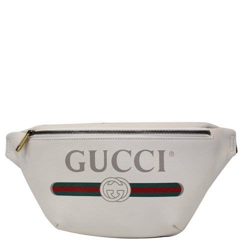 GUCCI Print Leather White Belt Waist Bum Bag Medium 530412
