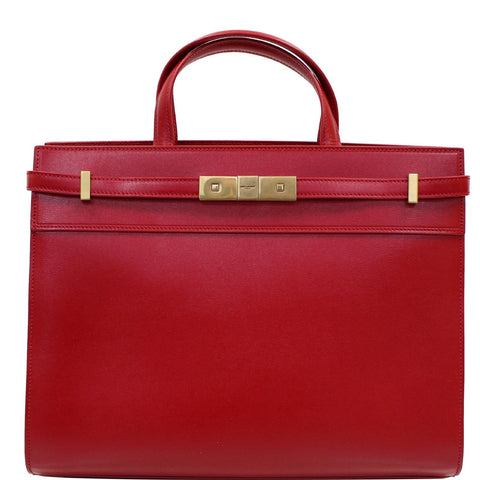 YVES SAINT LAURENT Small Manhattan Calfskin Leather Shopper Tote Bag Red