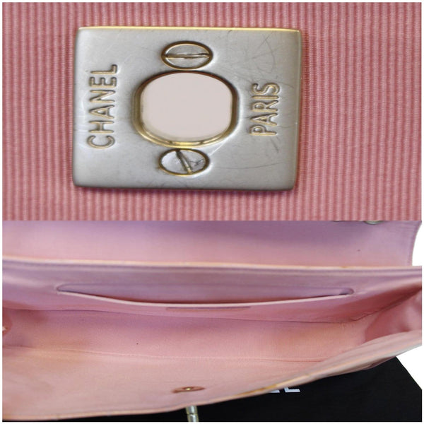 Chanel Flap Shoulder Bag Patent Leather Peach inside view