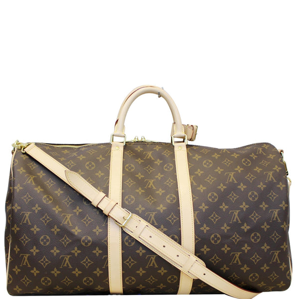 LOUIS VUITTON Keepall 55 Bandouliere Monogram Canvas Travel Bag Brown