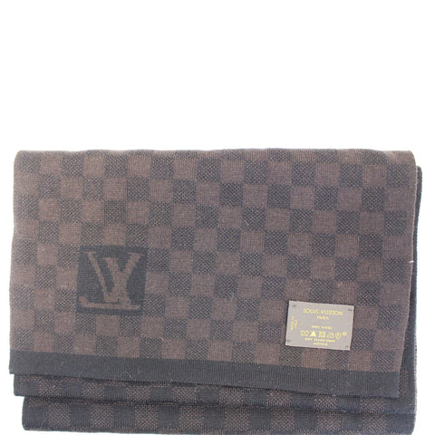 LOUIS VUITTON Wool Petit Damier Stole Scarf Brown