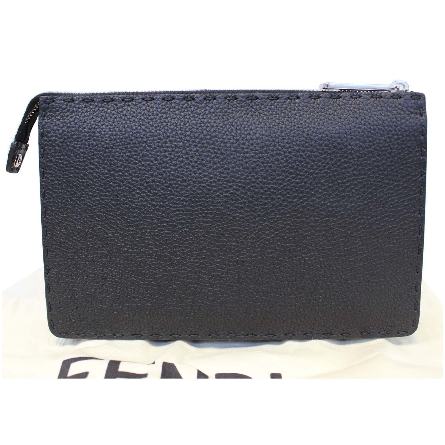 6332b7a6b2b FENDI Selleria Bag Bugs Slim Clutch Black-US