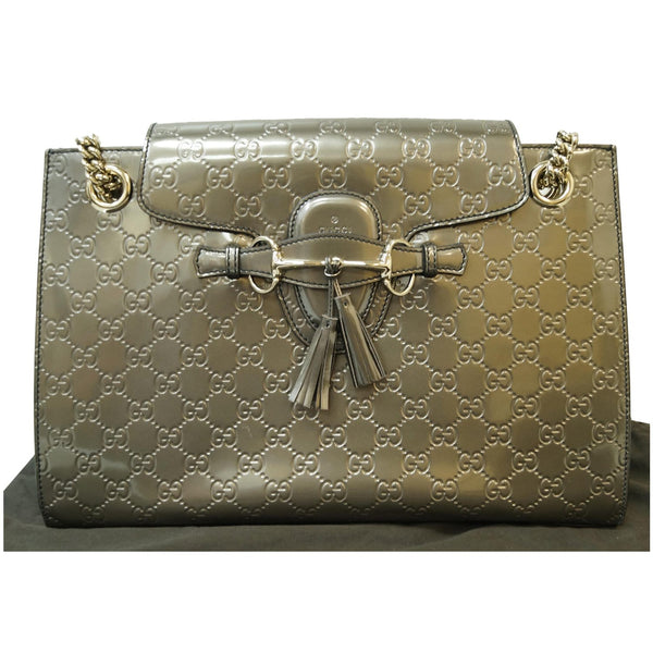 GUCCI Emily Large Guccissima Chain Shoulder Bag Grey 295403
