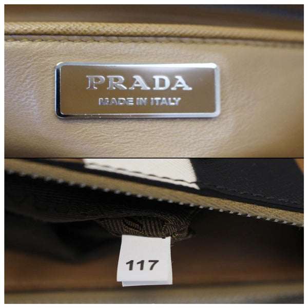 PRADA Galleria Baiadera Leather Tote Bag - inside Prada Logo