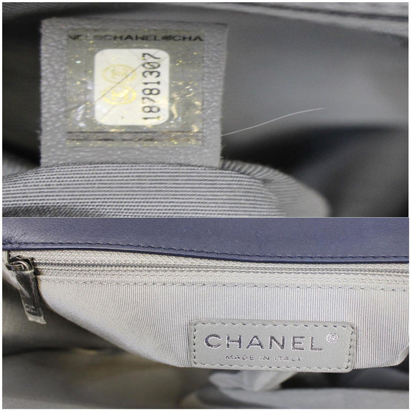Chanel New Medium Boy Flap Calfskin Double Stitch Bag Navy inside view
