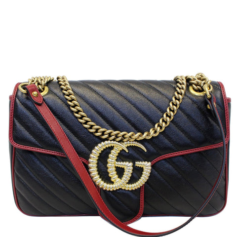 GUCCI GG Marmont Matelasse Leather Shoulder Bag Black/Red 443496