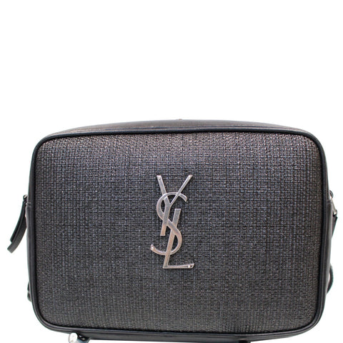 YVES SAINT LAURENT Lou Camera Raffia Canvas Crossbody Bag Black