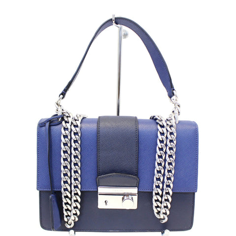 PRADA Saffiano Leather Blue Shoulder Bag