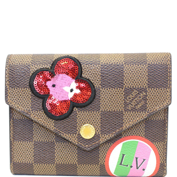 Louis Vuitton Victorine Wallet Damier Ebene Embroidery Brown