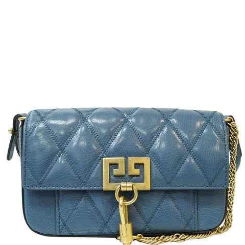 GIVENCHY GV3 Mini Quilted Leather Crossbody Bag Teal Blue