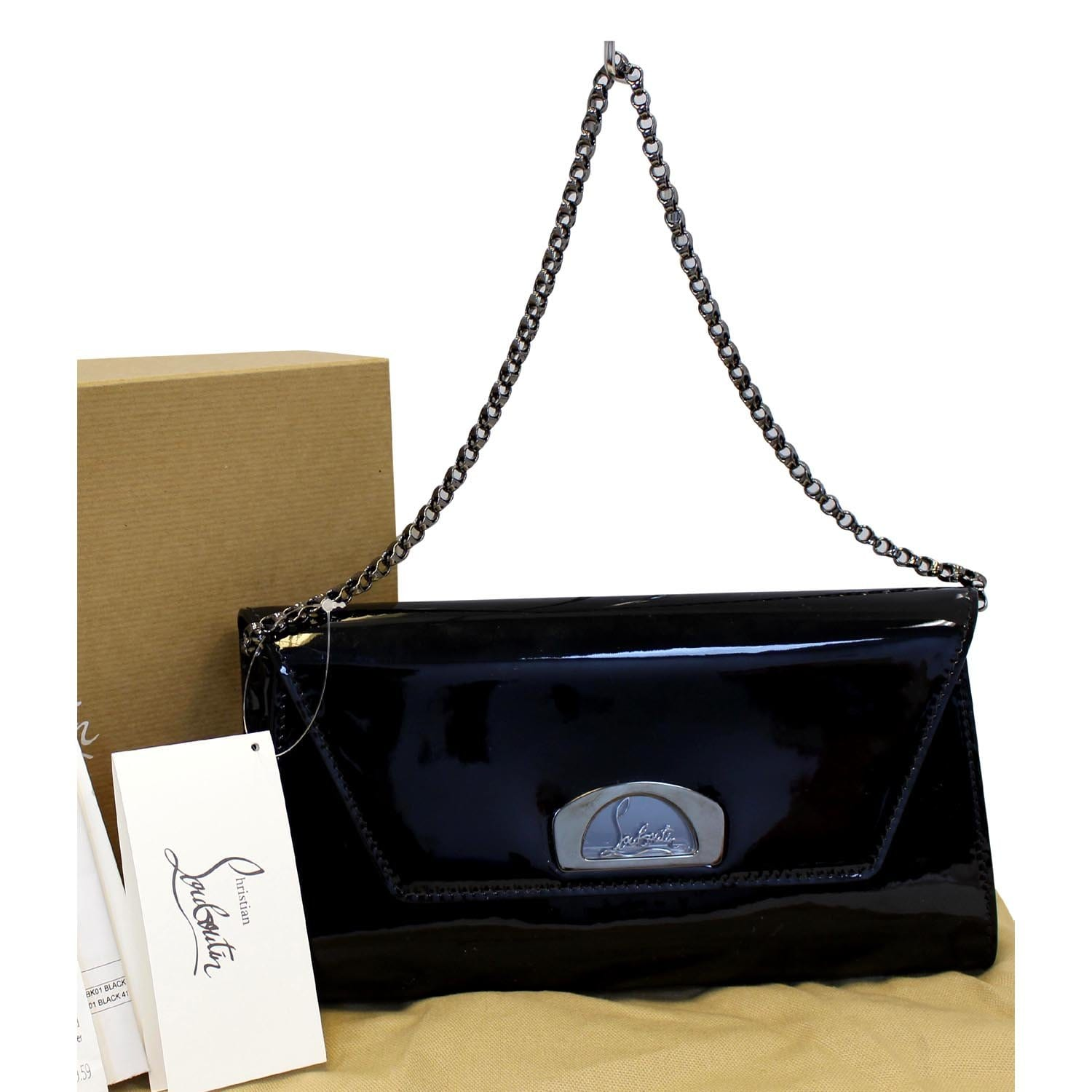 6805bf8fc50 Christian Louboutin Vero Dodat Patent Leather Clutch Bag Black-US