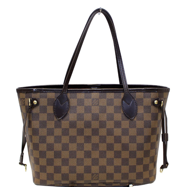 LOUIS VUITTON Neverfull PM Damier Ebene Tote Shoulder Bag Brown