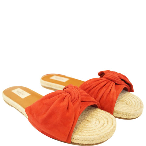 VALENTINO Tropical Bow Espadrille Slide Sandal Red