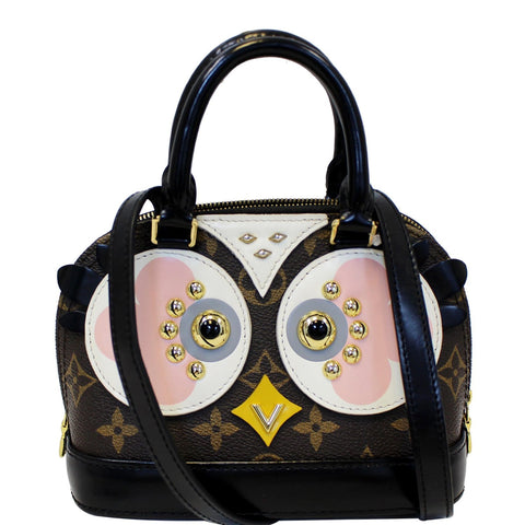 LOUIS VUITTON Nano Alma Owl Shoulder Crossbody Bag Black