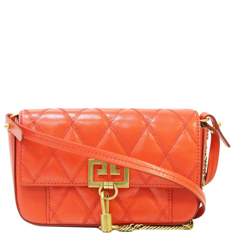 GIVENCHY GV3 Mini Quilted Leather Crossbody Bag Orange