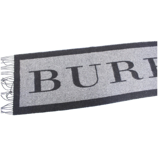 Burberry Scarf Logo Text Cashmere Black & Grey - burberry logo