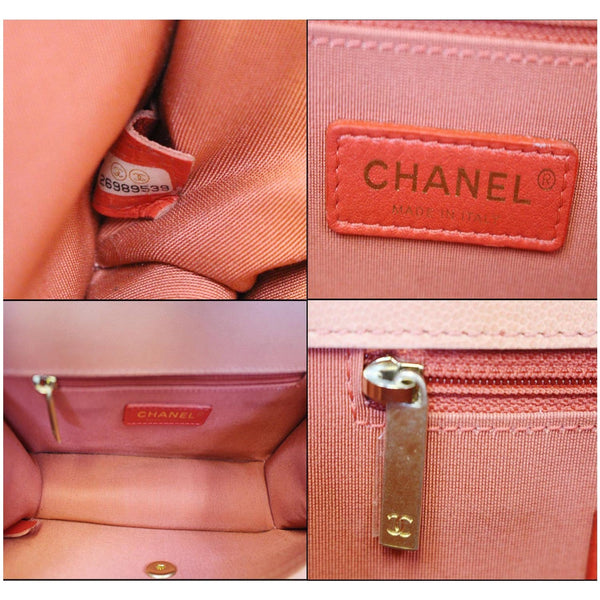 Chanel Sunset On The Sea Caviar Leather Small Flap inside view