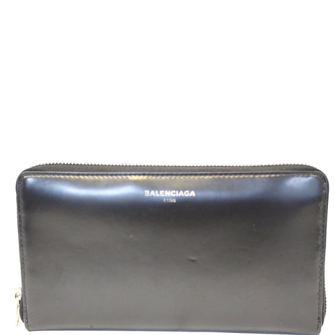 BALENCIAGA Continental Zip Around Leather Wallet Black