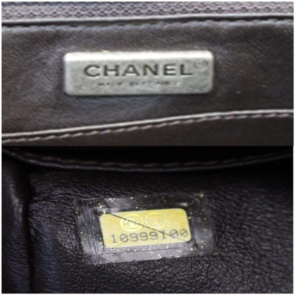 Chanel Jumbo Classic Fur and Python Leather Flap Bag interior