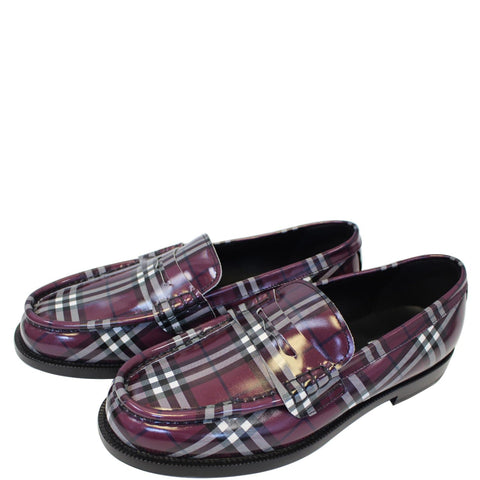 BURBERRY Gosha X Burberry Check Leather Loafers US 12