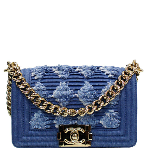 CHANEL Boy The 27th Mini Denim Shoulder Bag Blue