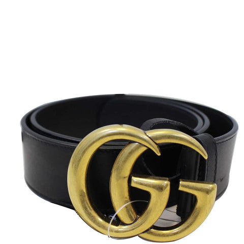 GUCCI Double G Buckle Black Leather Belt Size 39 Black