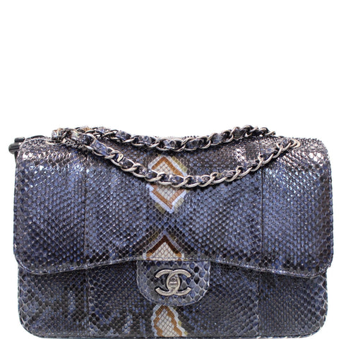 CHANEL Timeless Classic Double Flap Python Shoulder Bag Navy Blue