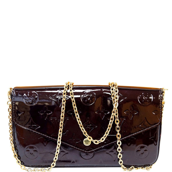LOUIS VUITTON Felicie Pochette Vernis Crossbody Bag Amarante - 15% OFF