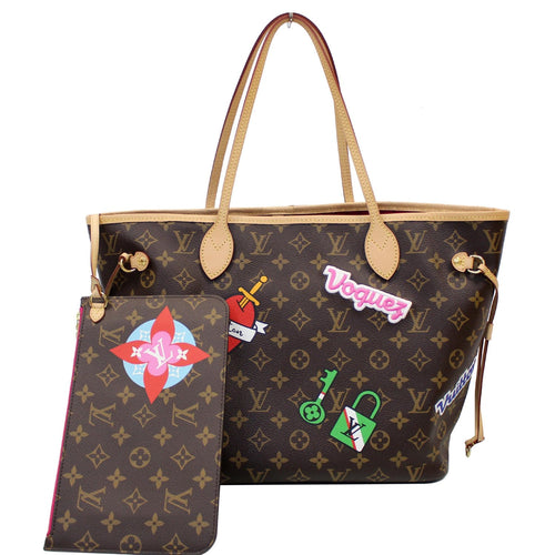 LOUIS VUITTON Stories Neverfull MM Monogram Canvas Shoulder Bag Brown