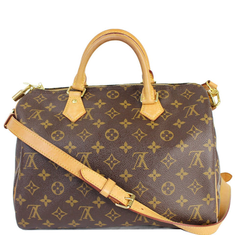 LOUIS VUITTON Speedy 30 Bandouliere Monogram Canvas Shoulder Bag Brown