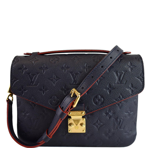 LOUIS VUITTON Metis Pochette Empreinte Leather Crossbody Bag Blue